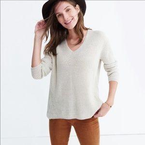 Madewell cream ribbed wool sweater large